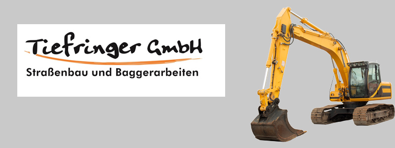 Ein Bagger vor dem Tiefringer Logo